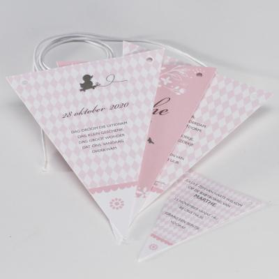 Roze vlaggenlijn met silhouet en ruitpatroon (586.010)
