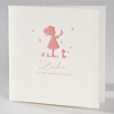Oud-Hollandse geboortekaart met silhouet meisje in roze folie (586.094)