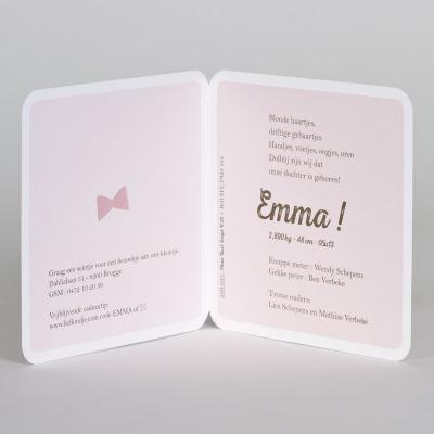 Geboortekaartje knuffelbeer meisje met roze strikje (589.037)