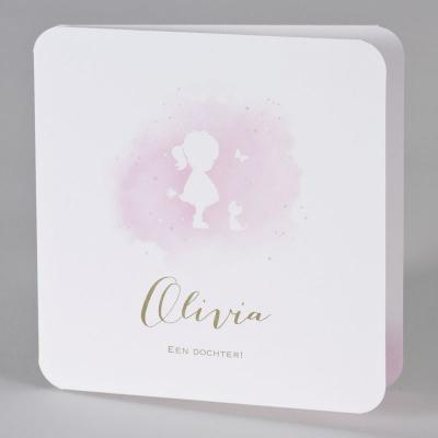 Lief geboortekaartje silhouet meisje in roze aquarel (589.045)