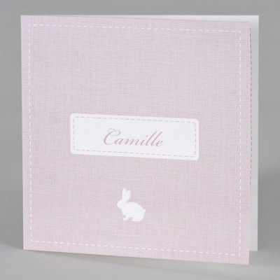 Geboortekaart met jutepatroon in roze (589.053)