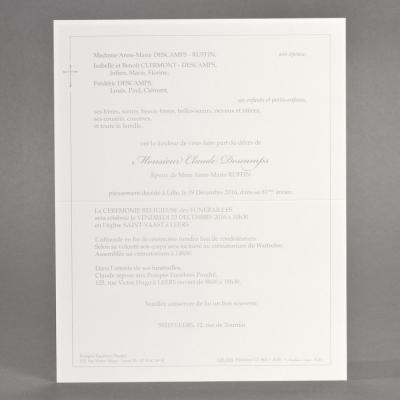 Enkele rouwbrief met grijs kader en kruis (620.040)