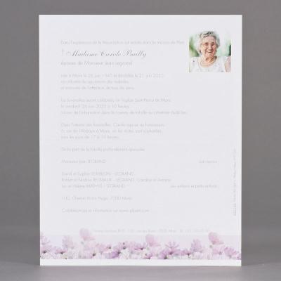 Enkele rouwbrief met paarse bloemen (620.164)