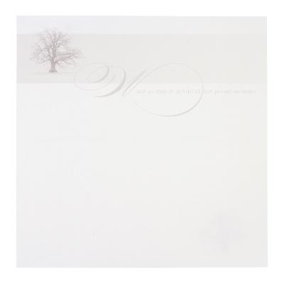 Dubbele plano rouwbrief met sombere boom (636.921)