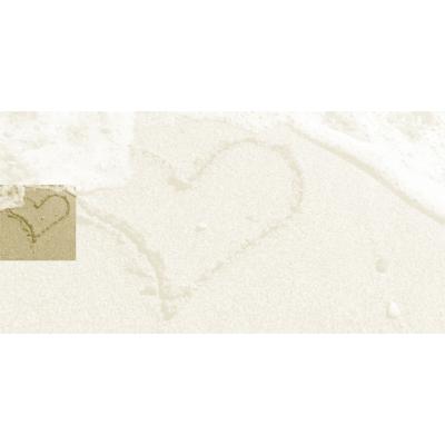 Rechthoekige rouwkaart met hart in het zand (642.909)