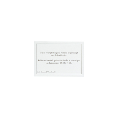 Maaltijdkaartje créme met grijs kader (649.040)