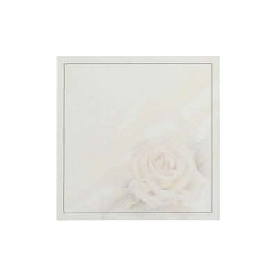Vierkant rouwprentje met roze roos (650.054)