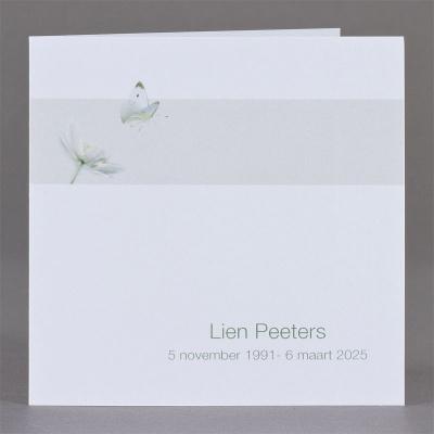 Vierkant rouwprentje bloem en vlinder in strakke grijze band - per 3 (651.165)