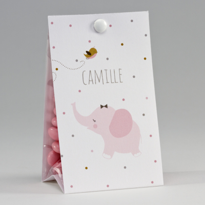 Snoepzakwikkel met roze olifantje en kleurrijke stipjes (747.133)