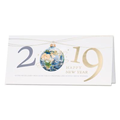 Internationale nieuwjaarskaart met blauwe wereldbol  (848.002)