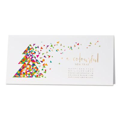 Vrolijke nieuwjaarskaart met kerstboom in kleurrijke driehoekjes (848.017)