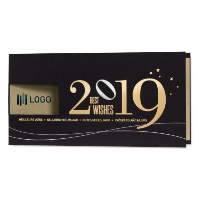 Zakelijke zwarte nieuwjaarskaart met gouden inlegvel (848.052)