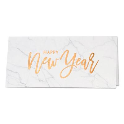Nieuwjaarskaart met marmermotief en goudfolie (848.094)