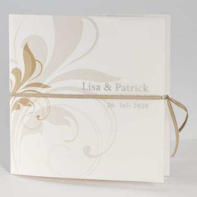 Rechteckige Hochzeitskarte mit taupen Ranken (100.004)