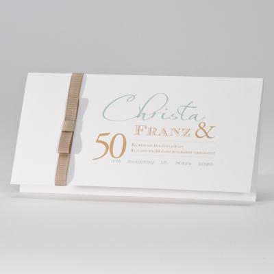 Elegante Hochzeitskarte mit braunem Bändchen (105.033JUB)