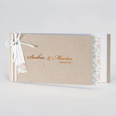 Ökologische Hochzeitskarte mit blumigem Einleger (106.026)