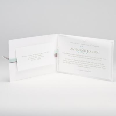Edle weiße Jubiläumskarte mit Prägung und Bändchen mintgrün und braun (106.044JUB)