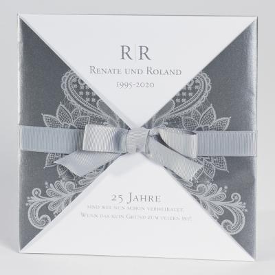 Elegante anthrazitfarbige Tasche mit silbernem Barokmotiv (106.060JUB)