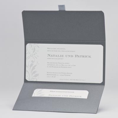 Edle anthrazitfarbige Aussenkarte mit Silberfolienprägung veredelt (106.091)