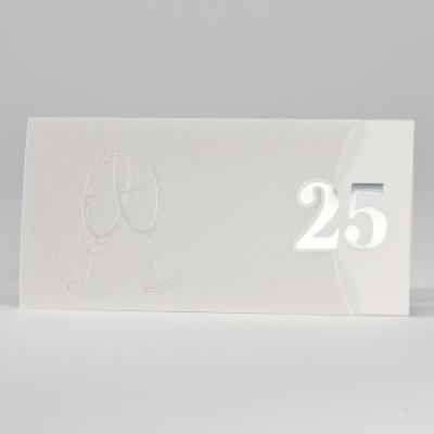 """Elegante perlmuttfarbige Jubiläumskarte mit """"25"""" in Silber (106.302)"""