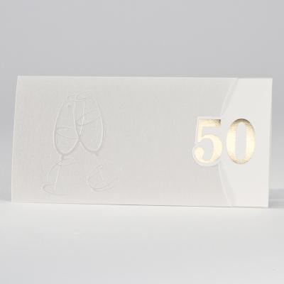 """Elegante perlmuttfarbige Jubiläumskarte mit """"50"""" in Gold (106.303)"""