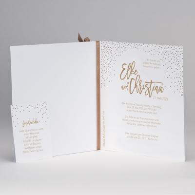 Hochzeitskarte mit bronzefarbenen Konfettis & Band (108.012)