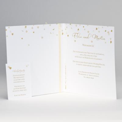 """""""Ja"""" Hochzeitskarte mit Herzregen in Goldfolie (108.015)"""