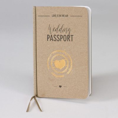 Hochzeitsreisepass aus Kraftpapier mit Goldherz  (108.044)