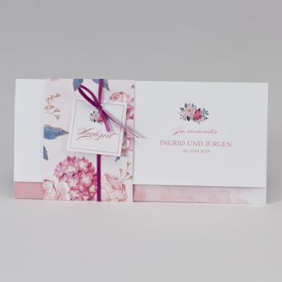 Hochzeitskarte mit Blumenbanderole  (108.053)