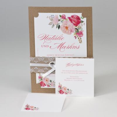 Einladung mit Blumenmotiv & Spitze Banderole  (108.102)