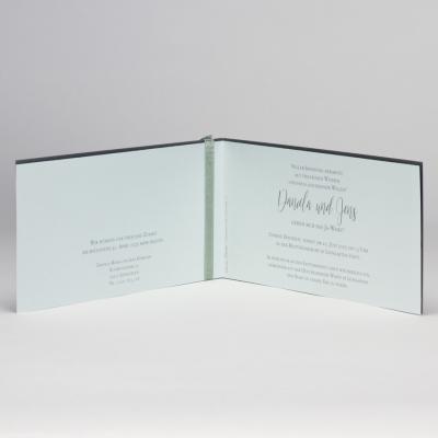 Anthrazit Hochzeitskarte mit Spitze Stanzung & grünem Einleger  (108.107)