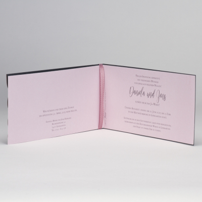 Anthrazit Hochzeitskarte mit Spitze Stanzung & rosa  Einleger  (108.110)