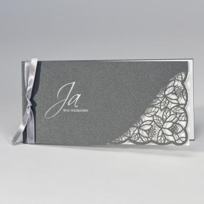 Anthrazit  Hochzeitskarte mit Spitze Stanzung & cremigem Einleger  (108.113)