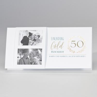 Weiße Fotokarte mit Jubiläumskranz 50 in Gold (108.301)