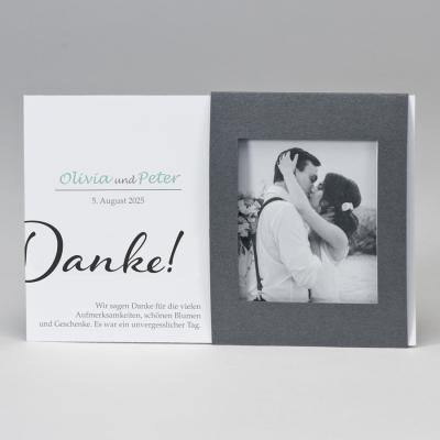 Fotodanksagungskarte mit silbernem Passepartout  (128.916)