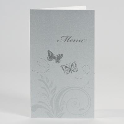Silberfarbene Menükarte mit Schmetterlingen (201.008)