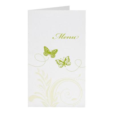 Menükarte mit Ranke und zwei grünen Schmetterlingen  (201.069)