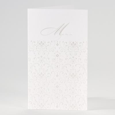 Weiße Menükarte mit perlmuttfarbenem Blumenmotiv (206.002)