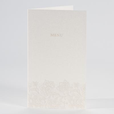 Perlmuttfarbene Menükarte mit Blumenmotiv (206.115)