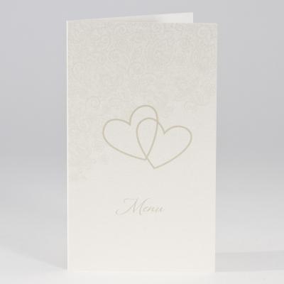 Perlmuttfarbene Menükarte mit Herzen und Blumenmotiv (206.135)