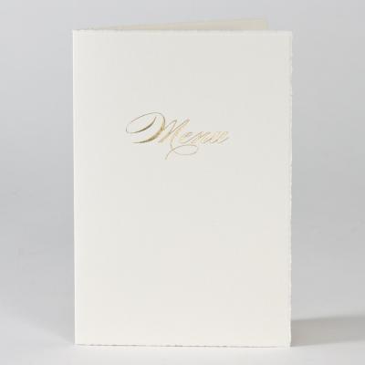 Menükarte aus Büttenpapier mit Goldfolie  (208.037)