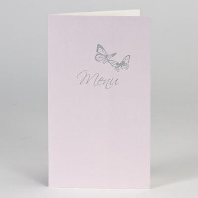 Lilafarbene Menükarte mit Schmetterlingen  (208.057)