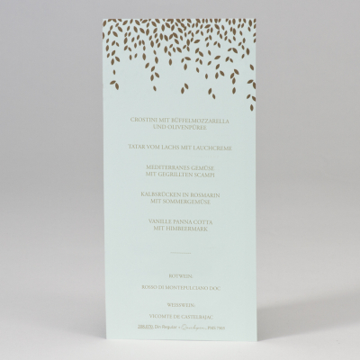 Mintgrüne Menükarte mit Blättern in Goldfolie  (208.070)