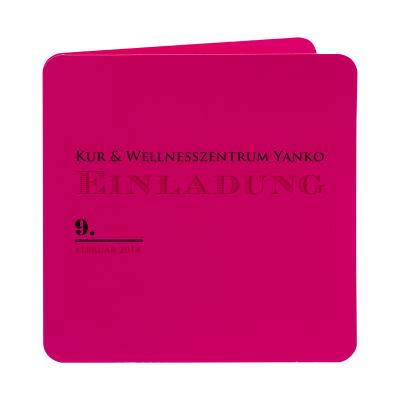 Quadratische pinkfarbige 2-fach Klappkarte (313.136)