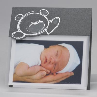 Stahlgraue Fotokarte mit Bär in Silberfolienprägung (584.084)