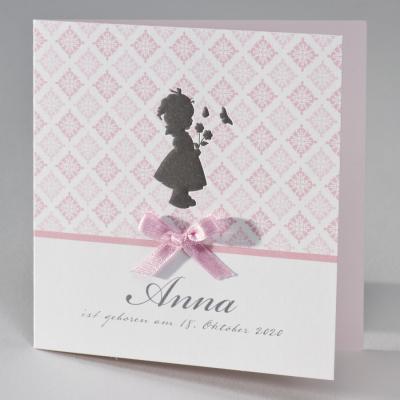 Nostalgische Mädchenkarte mit rosa Barockmotiven (584.092)