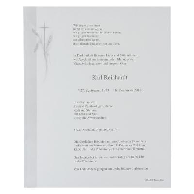 Doppelter Trauerbrief mit Kreuz und Kornähre (633.003)