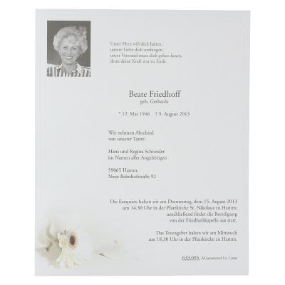 Doppelter Trauerbrief mit weißer Gerbera (633.095)