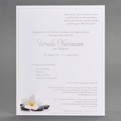 Doppelter Trauerbrief mit Orchideenblüte und Steinen (633.144)