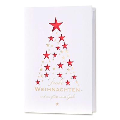 Tannenbaum im Lichterglanz mit gestanzten Sternen in Rot (847.033)